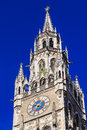 Top of munich city hall tower bell in bavaria germany Stock Image