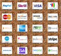 Top online payment services and systems logos and vector