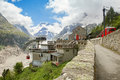 The top railway station on montenvers france chamonix june mer de glace in summer season Royalty Free Stock Photos