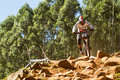 On top of rock garden pietermaritzburg south africa april greg minnaar santa cruz syndicate during qualifying round uci mtb world Stock Photo