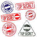 Top secret stamps rectangular and round rubber stamp s Royalty Free Stock Photo