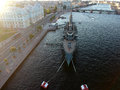 Aerial Top sunset view of Aurora cruiser on the Neva river in Saint Petersburg Royalty Free Stock Photo