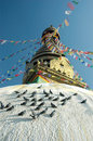 Top of the Swayambhunath stupa in Kathmandu Valley Royalty Free Stock Photography