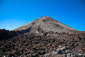 Top of teide volcano and lava landscape on tenerife spain canary islands Royalty Free Stock Images