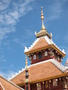 Top of temple roof chapel thai architecture Royalty Free Stock Photo