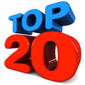 Top twenty written in nice blue and red shiny text over white background concept of titles games songs movies or just about Stock Photos