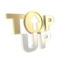 Top up emblem icon with up arrow coin glossy chrome golden as a letter isolated on white Royalty Free Stock Images