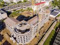Top view aerial photo from flying drone of construction site wit Royalty Free Stock Photo