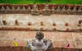 Top view of ancient buddha statue in a row Royalty Free Stock Photography