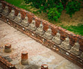 Top view of ancient buddha statue in a row Stock Photography