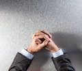 Top view of anonymous controlled businessman hands expressing reflection or patience Royalty Free Stock Photo
