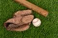 Top view baseball bat glove and ball Royalty Free Stock Photo
