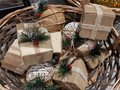 Top view of basket with Christmas Gifts Royalty Free Stock Photo