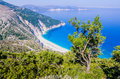 Top View of beautiful Myrtos Bay and Beach on Kefalonia Island, Greece Royalty Free Stock Photo