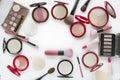 Top view beautiful vivid various item makeup kit