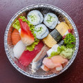 Top view of bento aluminum box, mixed nigiri and assorted sushi Royalty Free Stock Photo