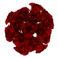 Top view bouquet of red roses isolated on white Stock Photo