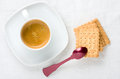 Top view breakfast cup espresso coffee biscuits Royalty Free Stock Photo