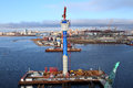 Top view of the bridge under construction temporary technologic st petersburg russia october western high speed diameter start Royalty Free Stock Photos