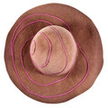 Top view of brown broad brim felt hat isolated on white background Stock Images