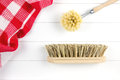 Top-view of brushes and tea towel Royalty Free Stock Photo