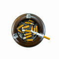 Top view of burning cigarette in ashtray Royalty Free Stock Photo
