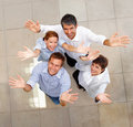 Top view of business colleagues showing a gesture Royalty Free Stock Photos