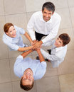 Top view of business people with a hands together Royalty Free Stock Photo