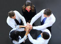 Top view of business people with their hands together in a circle Stock Photography