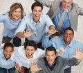Top view of business team celebrating Stock Image