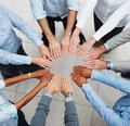 Top view of a business team taking an oath Stock Image