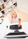 Top view of a business woman speaking on cellphone Royalty Free Stock Photography