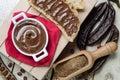 Top view carobs cream chocolate composizione di crema al cioccolato di carruba Stock Image