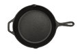 Top view of cast iron pan on white isolated background Stock Images