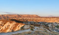Top view of cave houses and rock formations. Goreme. Cappadocia. Turkey Royalty Free Stock Photo