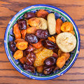 Top view of Central Asian dried fruits in bowl Royalty Free Stock Photo