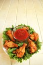 Top view chicken wings salad spicy tomato dip Stock Photos