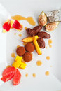 Top view of a chocolate and fruits dessert Royalty Free Stock Images