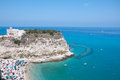 Top view of the church located on the island of tropea calabria Stock Photos