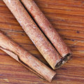 Top view of cinnamon sticks close up on wooden table Stock Image