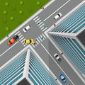 Top View On City Crossroad Royalty Free Stock Photo