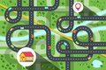 Top View City Map with Cars on Road, River and Trees. House Icon with Destination Pin Vector Illustration.