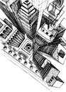Top view of a city skyscrapers drawing aerial sketch Royalty Free Stock Images