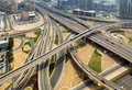 Top view city traffic of highway and bridge, logistics Royalty Free Stock Photo