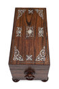 Top View of A Closed Wooden Jewelry Box Royalty Free Stock Photo