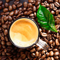 Top view of coffee cup on bean bacground Stock Photo