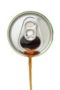 Top view of cola beverage flowing from the aluminum beverage can Royalty Free Stock Photo