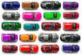 Top view on colorful car toys