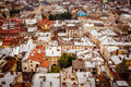 Top view on colorful roofs and houses of old European city of Lvov Royalty Free Stock Photo
