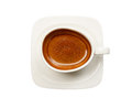 Top view cup of coffee on white background isolated Royalty Free Stock Photos